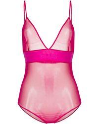 Gcds Sheer Bodysuit - Pink