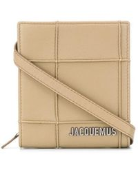 Jacquemus Check-pattern Logo-lettering Shoulder Bag - Natural