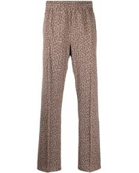 Needles Leopard-print Slip-on Straight-leg Trousers - Green