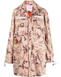 The Attico Camouflage-print Parka - Pink