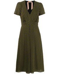N°21 Polka Dot Midi Dress - Black
