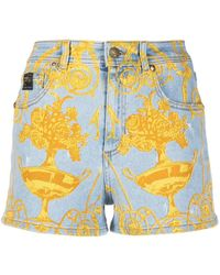 Versace Jeans Couture Graphic Print Denim Shorts - Blue