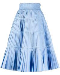 Prada High Waist Pleated Skirt - Blue