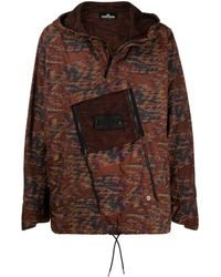 Stone Island Shadow Project Abstract-print Hooded Jacket - Brown