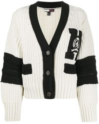 Tommy Hilfiger Chunky-knit Embroidered Logo Cardigan - White