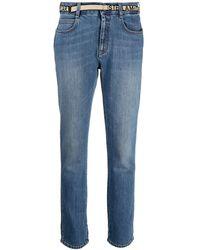 Stella McCartney Logo-tape Slim-fit Jeans - Blue
