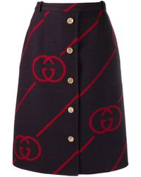 Gucci Interlocking G Reversible Wool Skirt - Red
