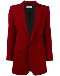 Saint Laurent Corduroy Single-button Blazer - Red