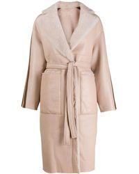 Blancha Vernice Stripes Shearling Coat - Pink