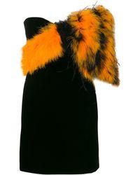 Saint Laurent Feather-embellished Mini Dress - Black