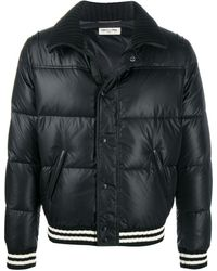Saint Laurent Stripe-trim Puffer Jacket - Black