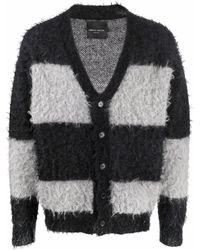 Roberto Collina Mohair-blend Striped Cardigan - Black