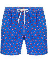 Mc2 Saint Barth Fish Print Swim Shorts - Blue