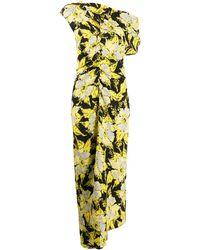Colville Floral Print Asymmetric Dress - Yellow