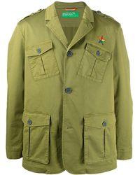 Benetton Logo Embroidered Utility Jacket - Green