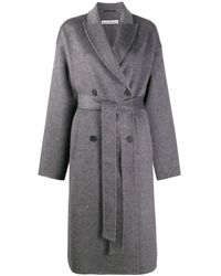 Acne Studios Double-breasted Belted Coat - Grey