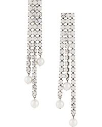 Christopher Kane Cupchain Faux-pearl Earrings - Metallic