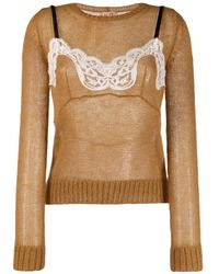 N°21 Two-layer Knitted Jumper - Brown