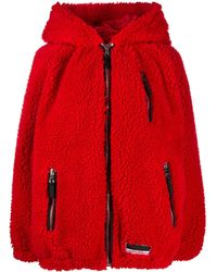 Miu Miu Hooded Oversized Jacket - Red