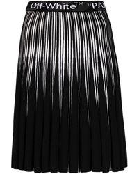 Off-White c/o Virgil Abloh Logo-waistband Pleated Skirt - Black