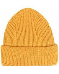 Roberto Collina Ribbed Knit Wool Beanie - Yellow