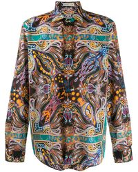 Etro Spread Collar Paisley Print Shirt - Black