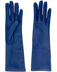 Saint Laurent Logo-debossed 5-finger Gloves - Blue