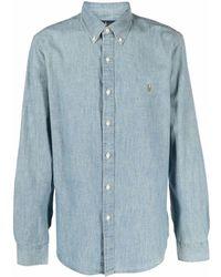 Ralph Lauren Collection Polo Pony Button-collar Shirt - Blue