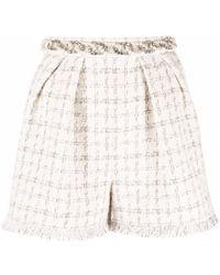 Elisabetta Franchi Crystal-embellished Tweed Shorts - Natural