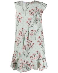 RED Valentino Silk Floral Ruffled Dress - Green