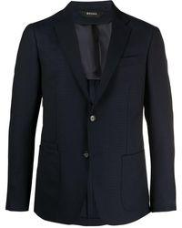 Z Zegna Wash & Go Technical Wool Blazer - Blue