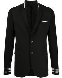 Neil Barrett Striped Ribbed Trimming Blazer - Black