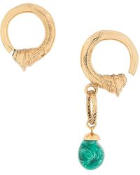 Patou Asymmetric Drop Hoop Earrings - Metallic