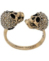 Alexander McQueen Crystal-embellished Skulls Ring - Multicolor
