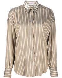 Brunello Cucinelli Double-collar Striped Shirt - Brown