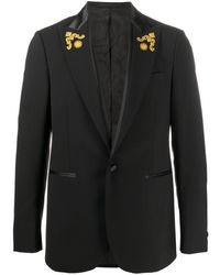 Versace Baroque Print-trimmed Virgin Wool Single-breasted Blazer - Black