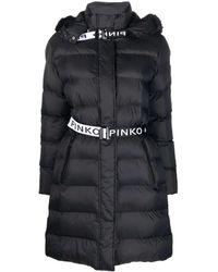 Pinko Logo Band Hooded Puffer Coat - Black