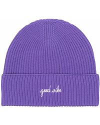 Maison Labiche Good Vibe Embroidered Ribbed-knit Beanie - Purple
