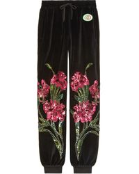 Gucci Chenille jogging Pants With Floral Patches - Black