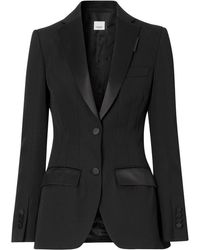 Burberry Satin-trim Tuxedo Jacket - Black