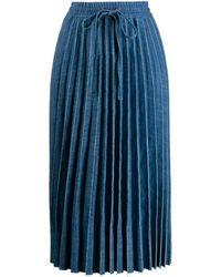 RED Valentino Drawstring Pleated Midi Skirt - Blue