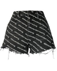Alexander Wang Logo Pattern Denim Shorts - Black