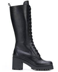 Miu Miu Military-style Knee-high Boots - Black