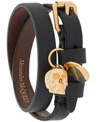Alexander McQueen Skull Charm Wrap Bracelet - Black
