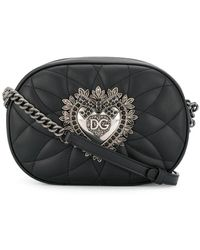 Dolce & Gabbana Devotion Quilted Leather Camera Bag With Heart Medallion - Black