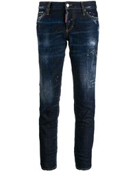 DSquared² Cropped Paint Splattered Jeans - Blue