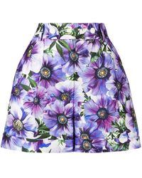 Dolce & Gabbana Anemone-print Tailored Shorts - Purple