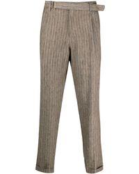 Briglia 1949 Pinstripe Linen Trousers - Multicolour