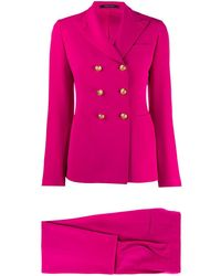 Tagliatore Fitted Double-breasted Suit - Pink