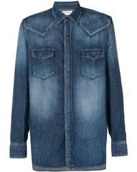 Saint Laurent Faded Western Denim Shirt - Blue
